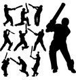 cricket players silhouettes collection vector image vector image
