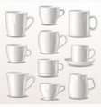 cup empty mugs for coffee or tea for vector image