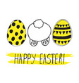 easter greeting card with easter eggs doodles vector image vector image