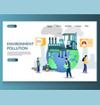 environment pollution website landing page vector image vector image