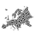 europe map collage of soccer balls vector image vector image