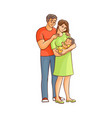flat cartoon adult couple and infant vector image vector image