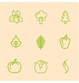 Flat Line Vegetables Icons vector image