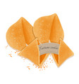 fortune cookie isolated on white tasty backdrop vector image vector image