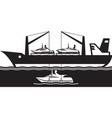 freight carrier ship loading yacht vector image vector image