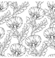 Garden flowers outline isolated on white Seamless vector image vector image