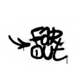 graffiti far out text sprayed in black over white vector image