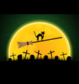 halloween witch broomstick graveyard cat moon vector image vector image