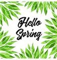hello spring card with lettering vector image