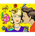holiday sales a couple man and woman with wisper vector image vector image