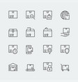 icon set packaging and shipping in thin line vector image