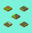 isometric road set of footer driveway way and