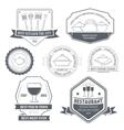Kitchen equipment set label template of emblem vector image vector image