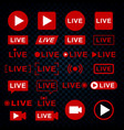 live streaming icons broadcasting video news tv vector image vector image