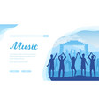 open air musical festival with fans and musicians vector image vector image