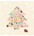 Ornamental Christmas tree with reindeer vector image