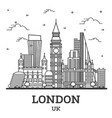 outline london england uk city skyline with vector image vector image