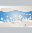 paper art style winter holiday and city for vector image vector image