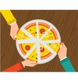 People having dinner together and sharing a huge vector image