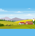 rural landscape with farm vector image vector image