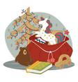 sack presents for kids on new year and xmas vector image vector image