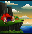 scout boy and girl are camping on cliff vector image