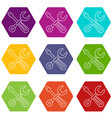 screwdriver and wrench icons set 9 vector image vector image