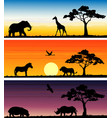 set of three animals banner vector image