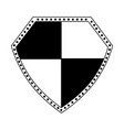 shield security symbol in black and white vector image vector image