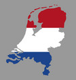 silhouette country borders map of netherlands on vector image