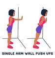 single arm wall push ups sport exersice vector image