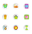 Time icons set cartoon style vector image vector image