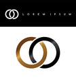 two circle overlapped linked logo logotype vector image vector image
