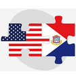 USA and Sint Maarten Dutch Part Flags in puzzle vector image
