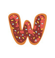 w letter in the shape of sweet glazed cookie vector image