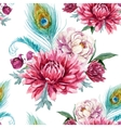 Watercolor peacock and flowers pattern vector image vector image