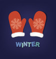 winter poster with mittens vector image