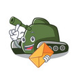 with envelope tank character cartoon style vector image