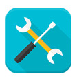 Wrench and screwdriver app icon with long shadow vector image vector image