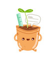 flower pot character vector image