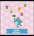Birthday party card with cute owl vector image