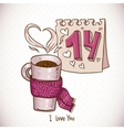 Greeting Card with cup of tea in a scarf vector image