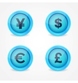 Currency signs on glossy icons vector image