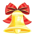 Gold bell and bow vector image
