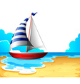 A boat at the beach vector image vector image