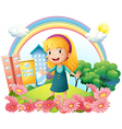 A little girl standing in the garden vector image vector image