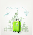 around the world concept with green travel bag vector image