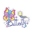 beautiful butterfly with calligraphy character vector image