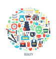 beauty cosmetics flat infographics icons in circle vector image vector image