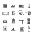 Black Household Appliances Icons Set vector image